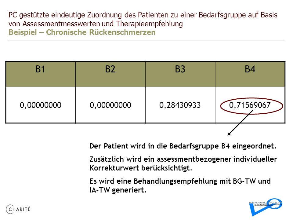 PC gestützte eindeutige Zuordnung des Patienten zu einer Bedarfsgruppe auf Basis von Assessmentmesswerten und Therapieempfehlung Beispiel – Chronische Rückenschmerzen