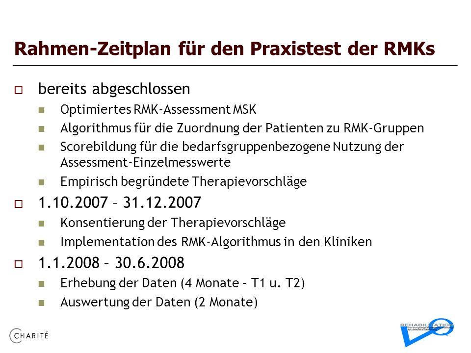 Rahmen-Zeitplan für den Praxistest der RMKs