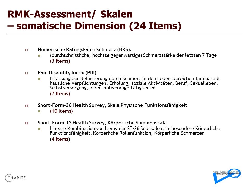 RMK-Assessment/ Skalen – somatische Dimension (24 Items)