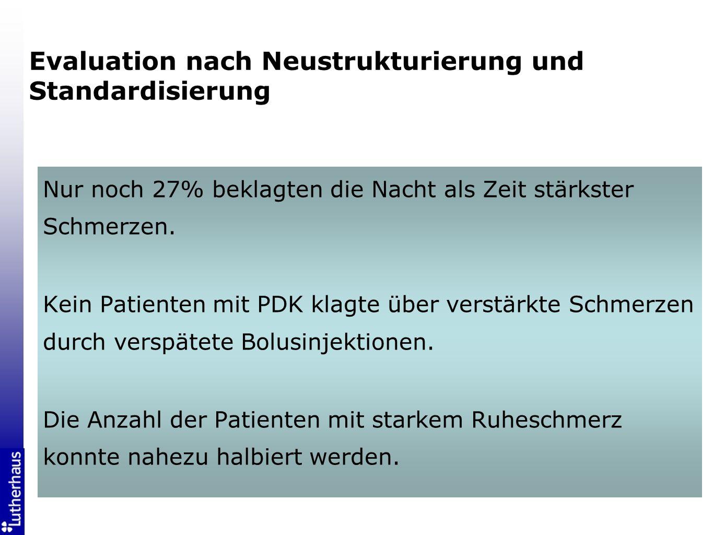 Evaluation nach Neustrukturierung und Standardisierung