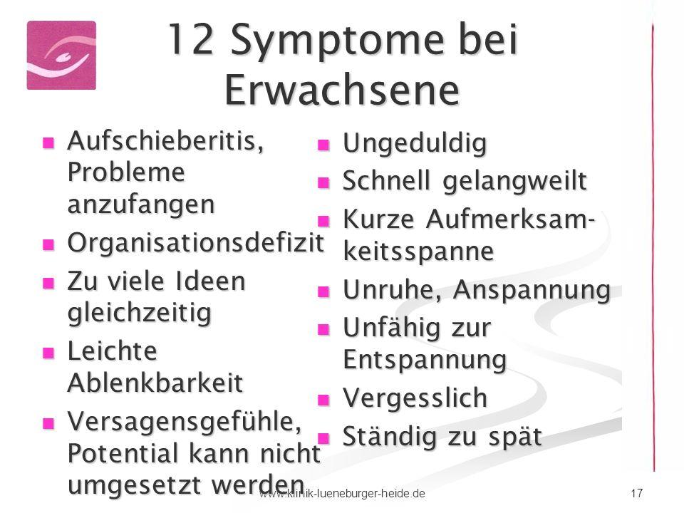 12 Symptome bei Erwachsene