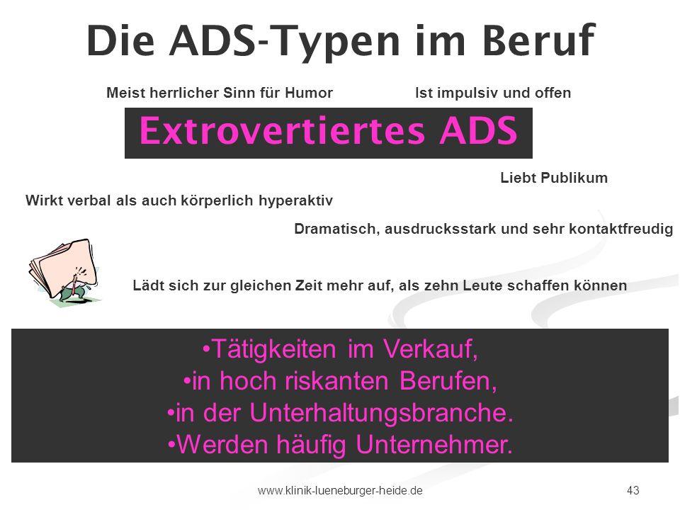 Die ADS-Typen im Beruf Extrovertiertes ADS Tätigkeiten im Verkauf,