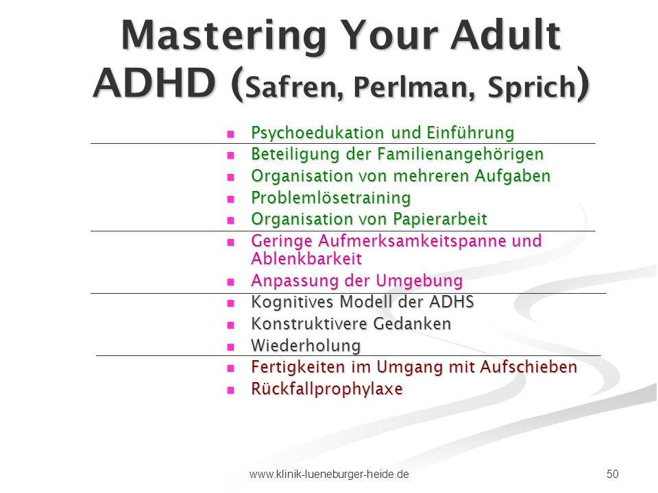 Mastering Your Adult ADHD (Safren, Perlman, Sprich)