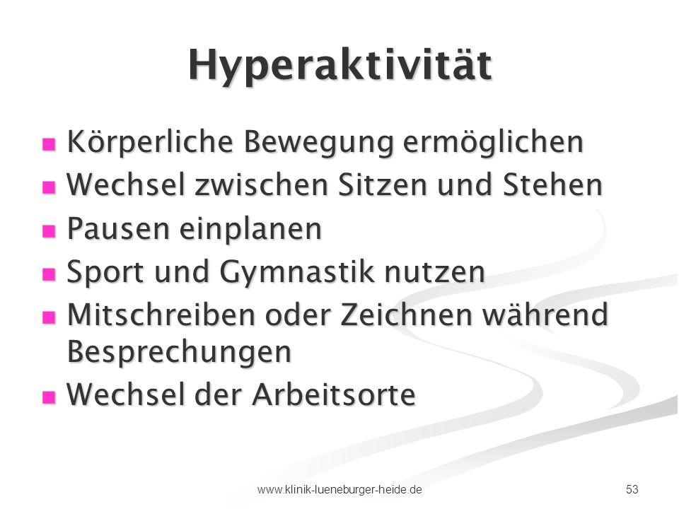 Hyperaktivität Körperliche Bewegung ermöglichen