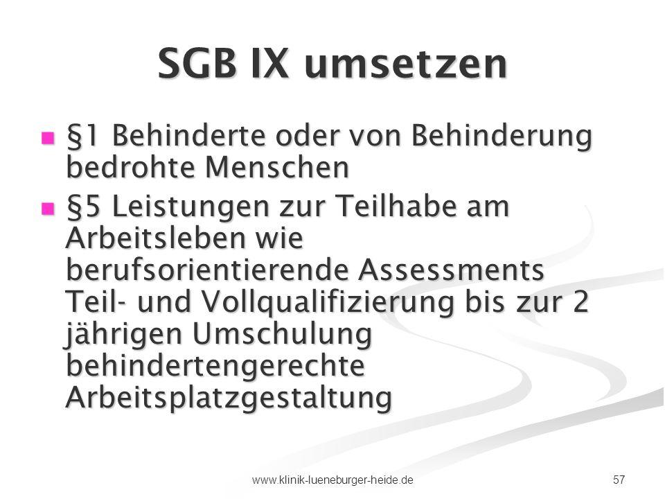 SGB IX umsetzen §1 Behinderte oder von Behinderung bedrohte Menschen