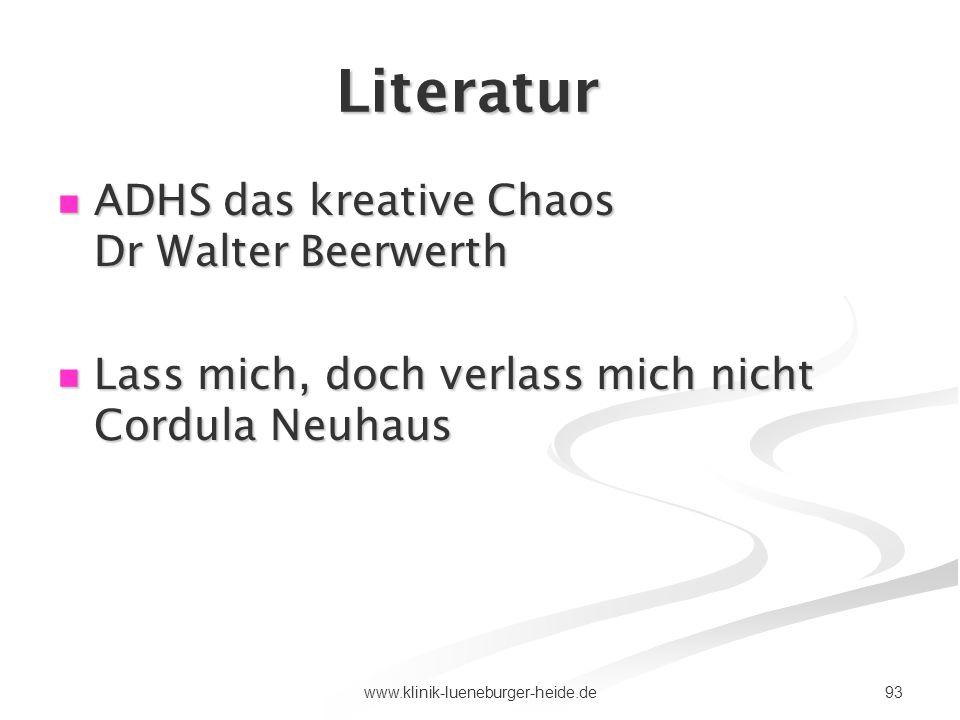Literatur ADHS das kreative Chaos Dr Walter Beerwerth