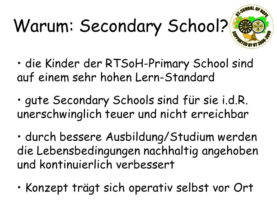 Warum: Secondary School