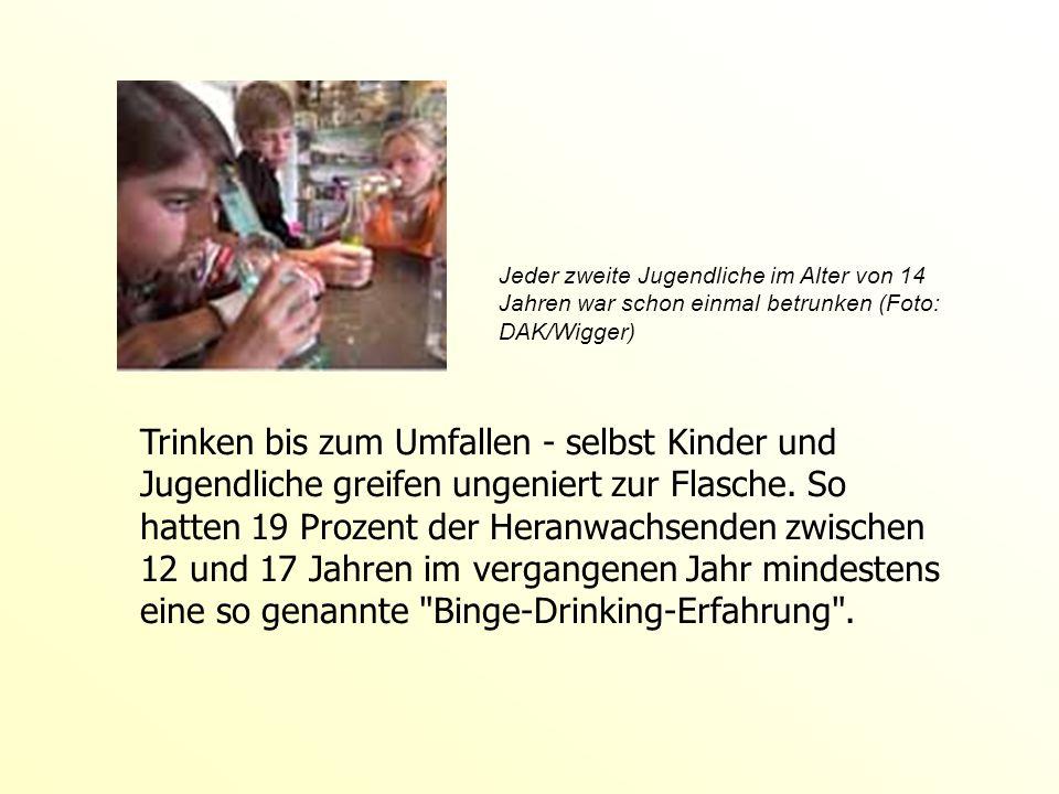 Jeder zweite Jugendliche im Alter von 14 Jahren war schon einmal betrunken (Foto: DAK/Wigger)