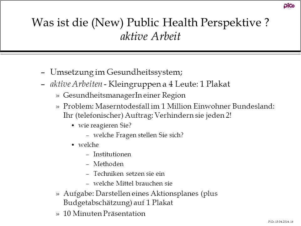Was ist die (New) Public Health Perspektive aktive Arbeit