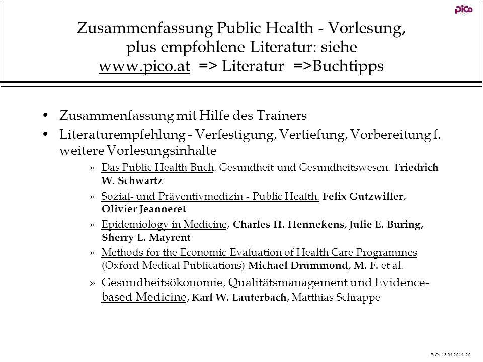 Zusammenfassung Public Health - Vorlesung, plus empfohlene Literatur: siehe www.pico.at => Literatur =>Buchtipps