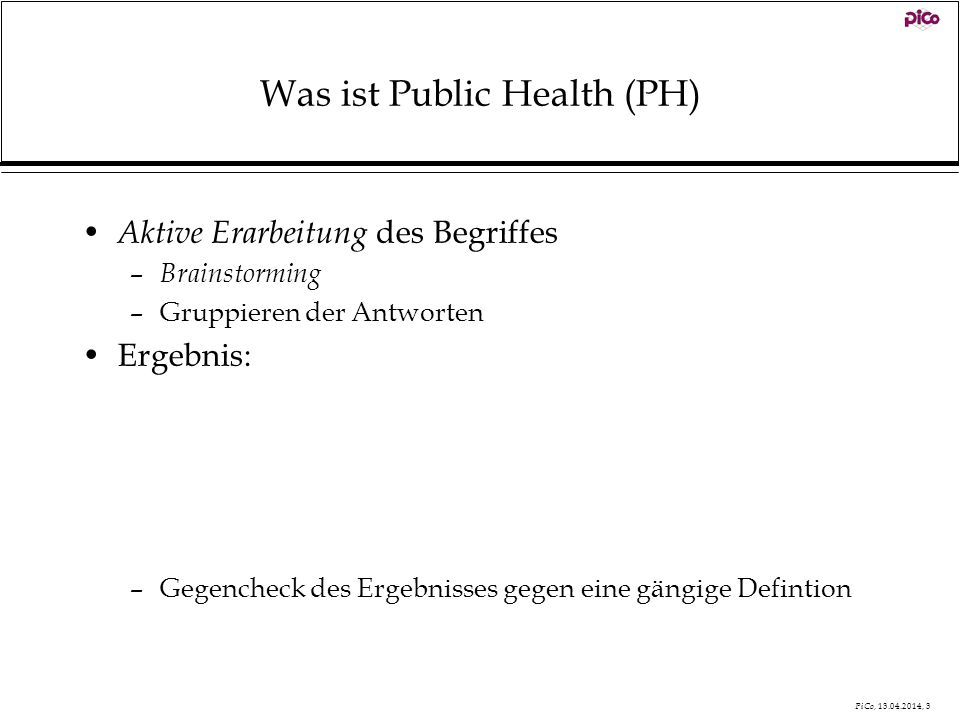 Was ist Public Health (PH)