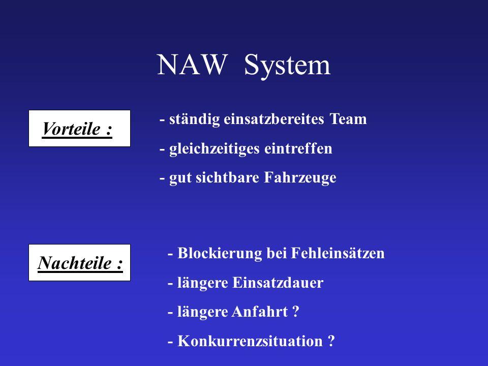 NAW System Vorteile : Nachteile : - ständig einsatzbereites Team