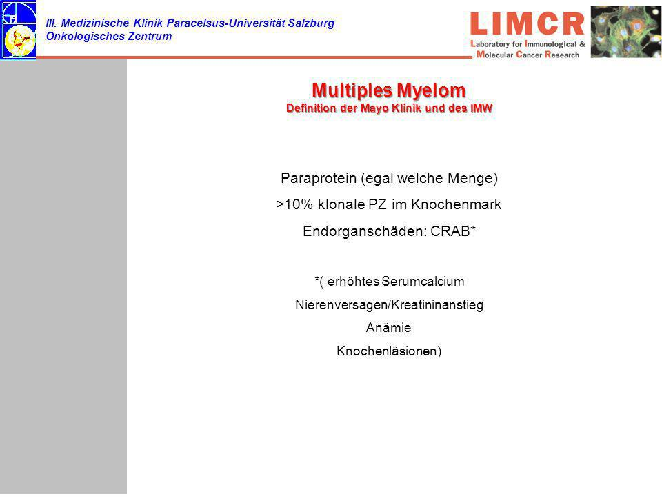 Multiples Myelom Definition der Mayo Klinik und des IMW