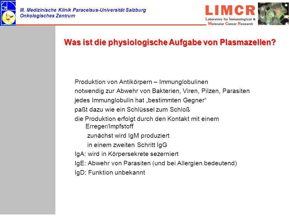 Was ist die physiologische Aufgabe von Plasmazellen