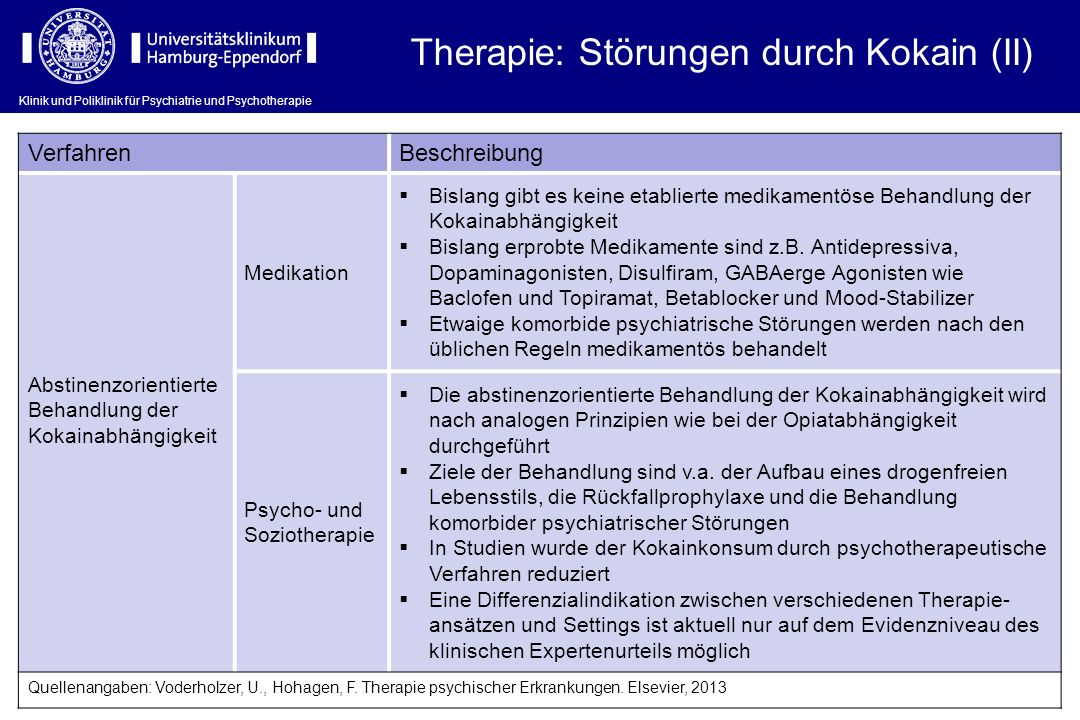 Therapie: Störungen durch Kokain (II)
