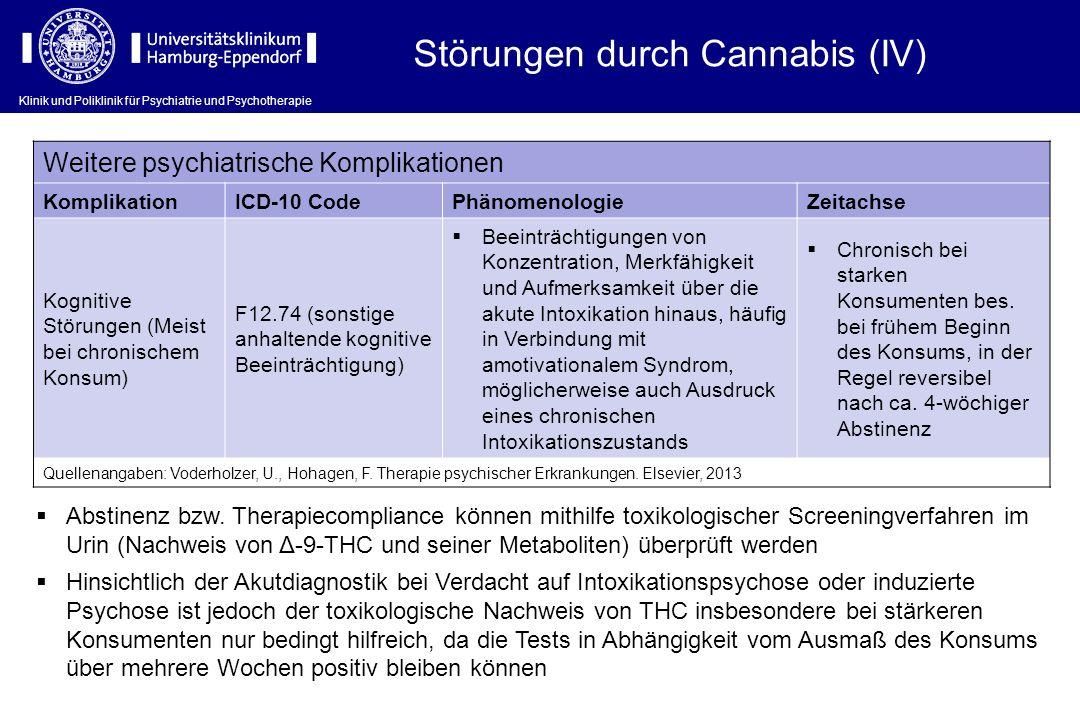 Störungen durch Cannabis (IV)