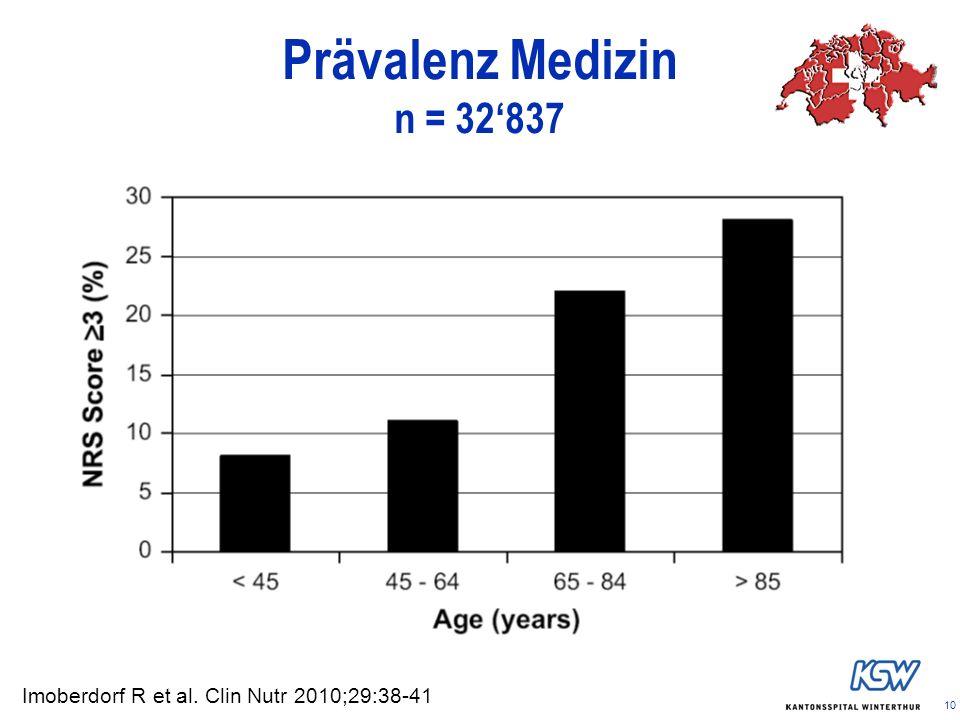Prävalenz Medizin n = 32'837 Imoberdorf R et al. Clin Nutr 2010;29:38-41 10
