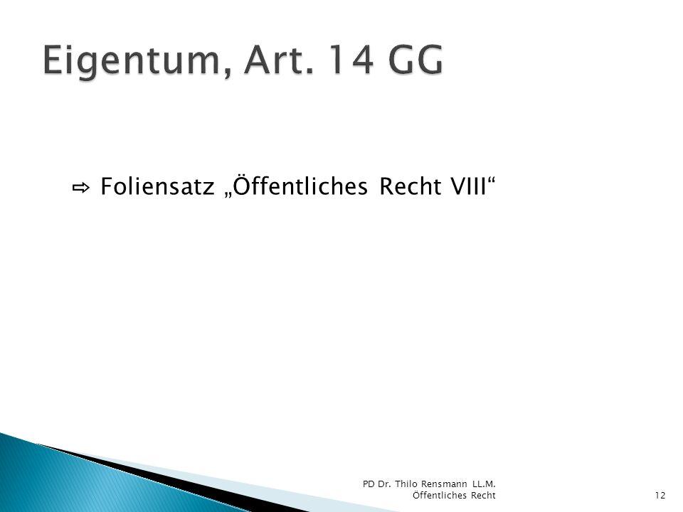 """Eigentum, Art. 14 GG ⇨ Foliensatz """"Öffentliches Recht VIII"""