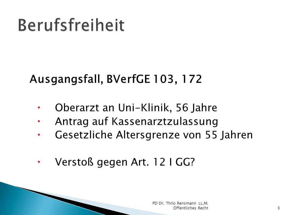 Berufsfreiheit Ausgangsfall, BVerfGE 103, 172