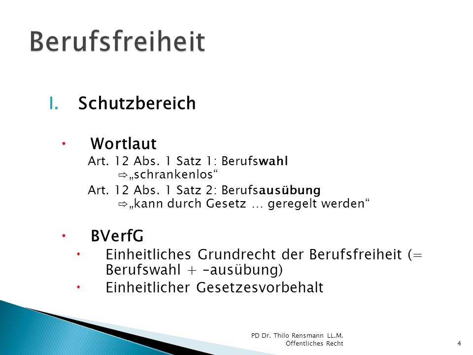 Berufsfreiheit Schutzbereich Wortlaut BVerfG