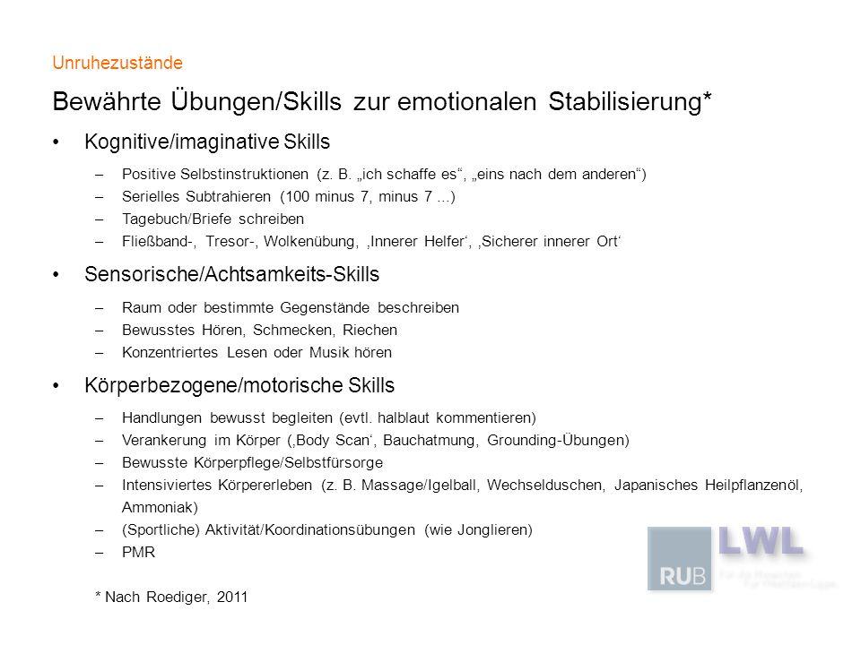 Bewährte Übungen/Skills zur emotionalen Stabilisierung*