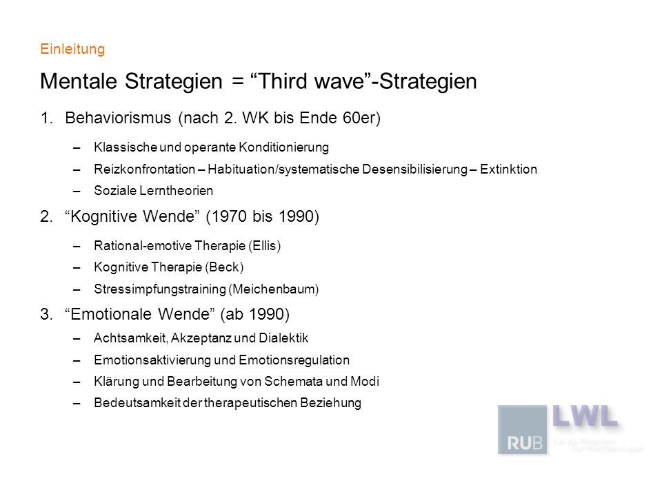 Mentale Strategien = Third wave -Strategien