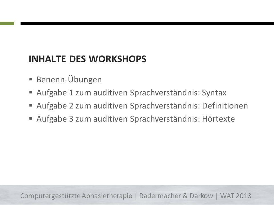 Inhalte des Workshops Benenn-Übungen