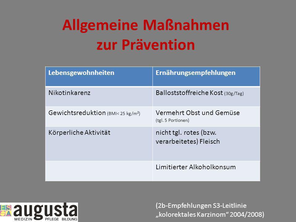 Allgemeine Maßnahmen zur Prävention