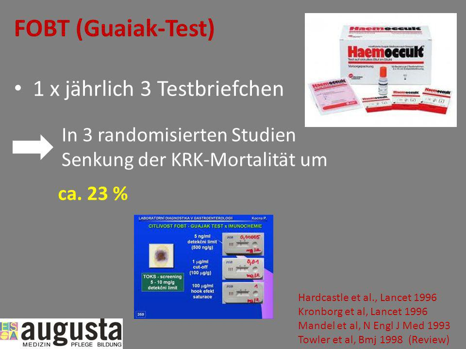 FOBT (Guaiak-Test) 1 x jährlich 3 Testbriefchen