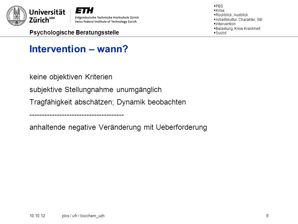 Intervention – wann