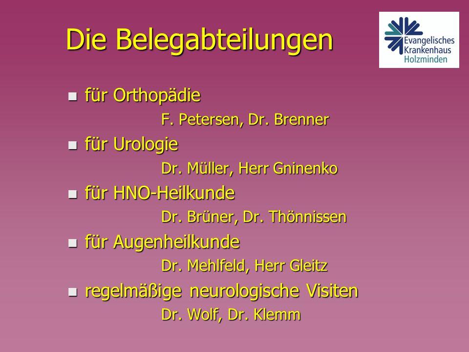 Die Belegabteilungen für Orthopädie für Urologie für HNO-Heilkunde