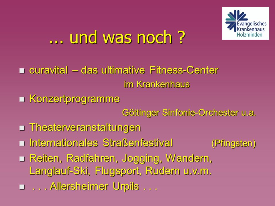 ... und was noch curavital – das ultimative Fitness-Center