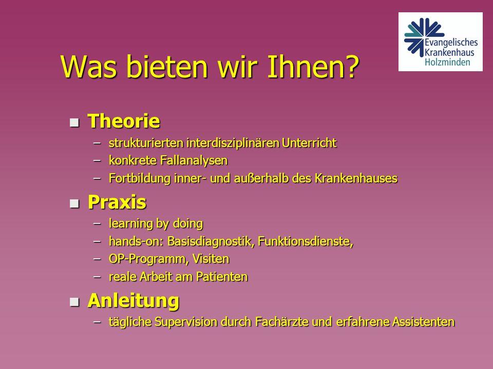 Was bieten wir Ihnen Theorie Praxis Anleitung