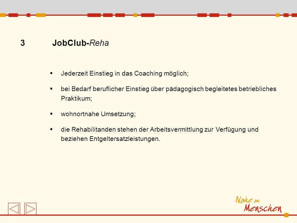 3 JobClub-Reha Jederzeit Einstieg in das Coaching möglich;
