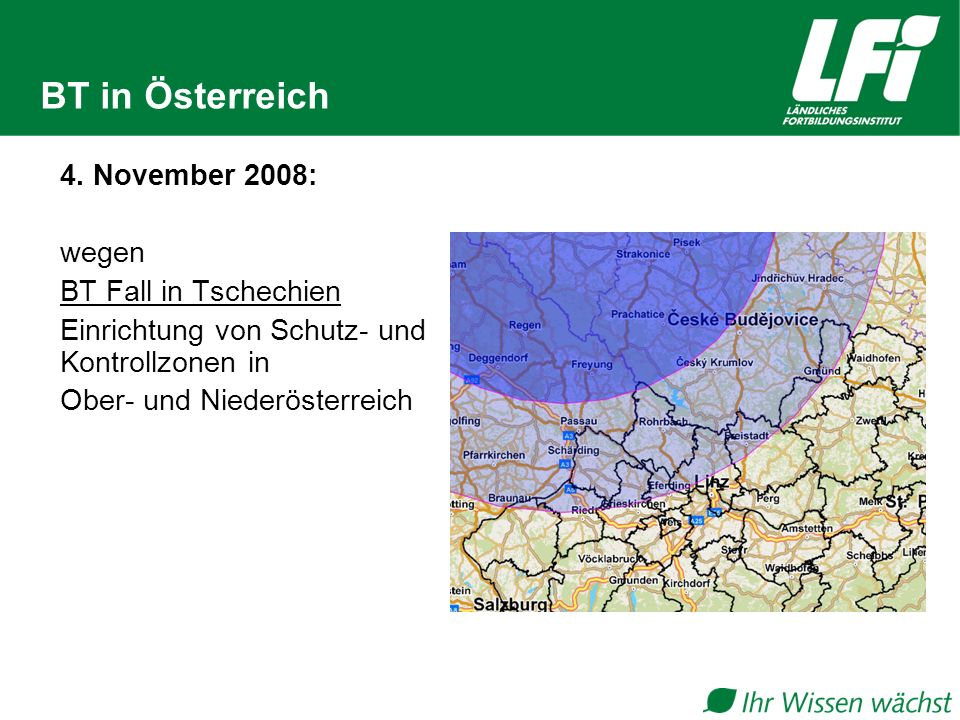 BT in Österreich 4. November 2008: wegen BT Fall in Tschechien