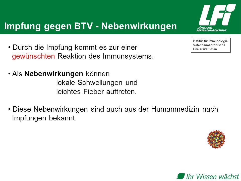 Impfung gegen BTV - Nebenwirkungen