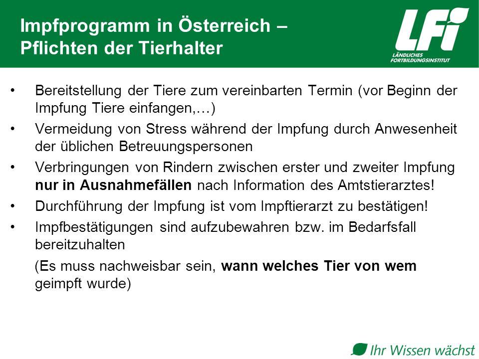 Impfprogramm in Österreich – Pflichten der Tierhalter