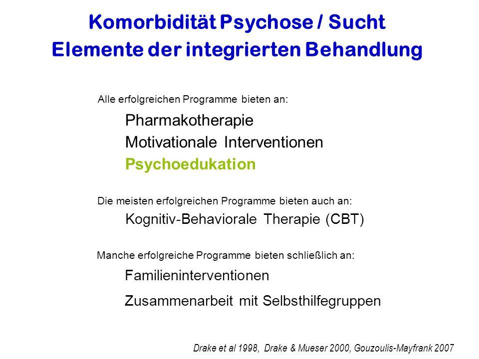 Komorbidität Psychose / Sucht Elemente der integrierten Behandlung