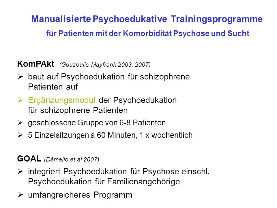 Manualisierte Psychoedukative Trainingsprogramme