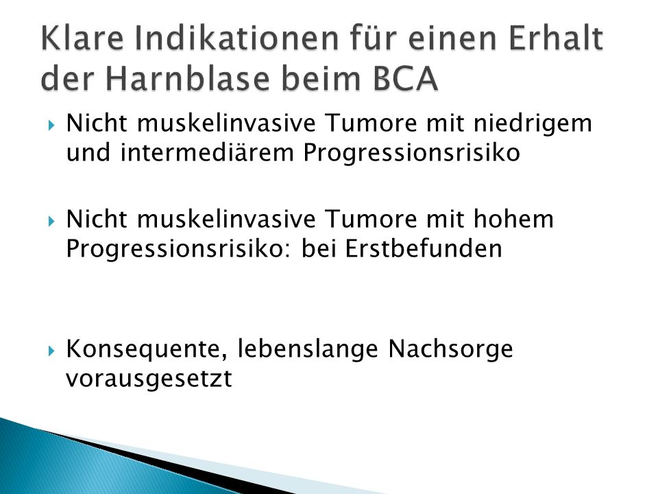 Klare Indikationen für einen Erhalt der Harnblase beim BCA
