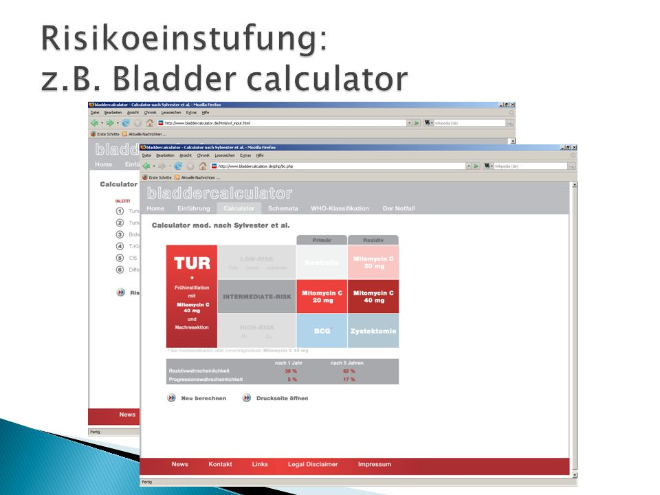Risikoeinstufung: z.B. Bladder calculator