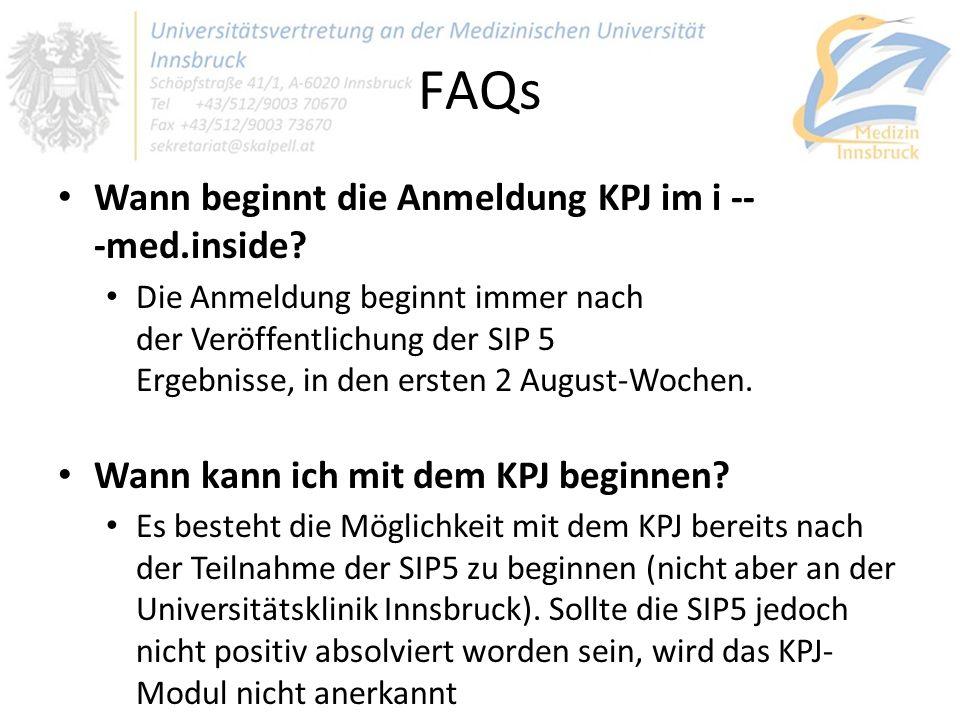 FAQs Wann beginnt die Anmeldung KPJ im i - ‐med.inside