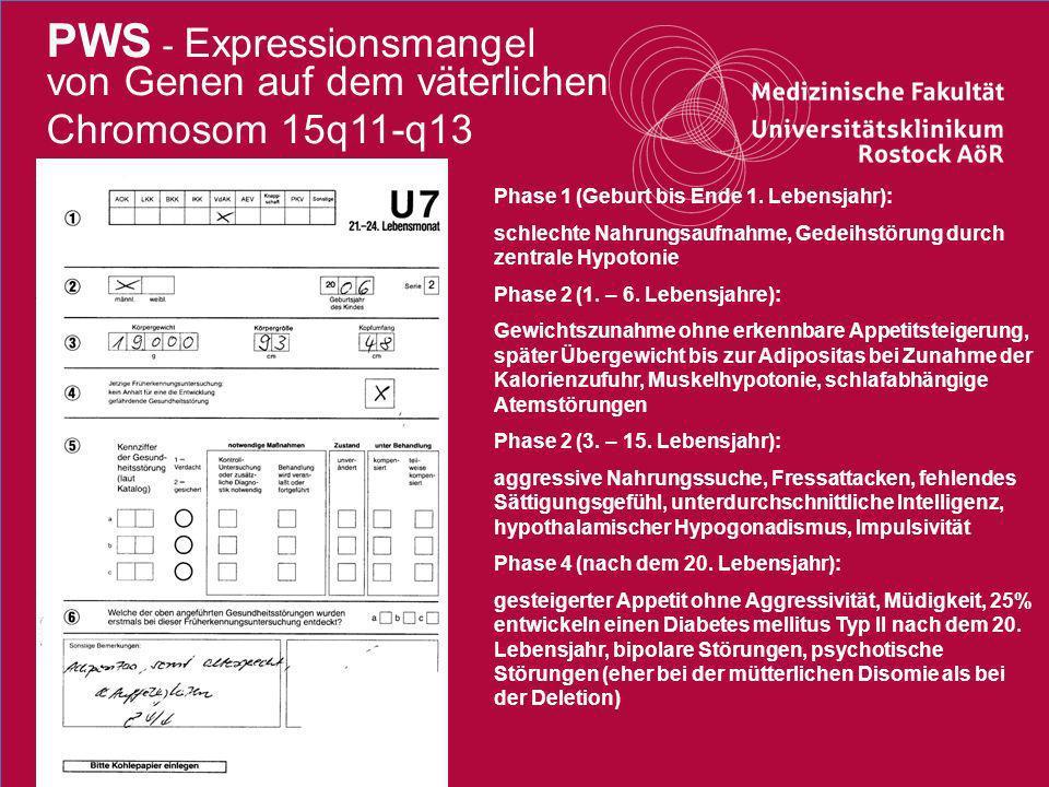 PWS - Expressionsmangel von Genen auf dem väterlichen Chromosom 15q11-q13