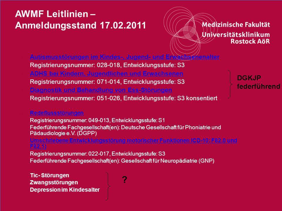 AWMF Leitlinien – Anmeldungsstand 17.02.2011