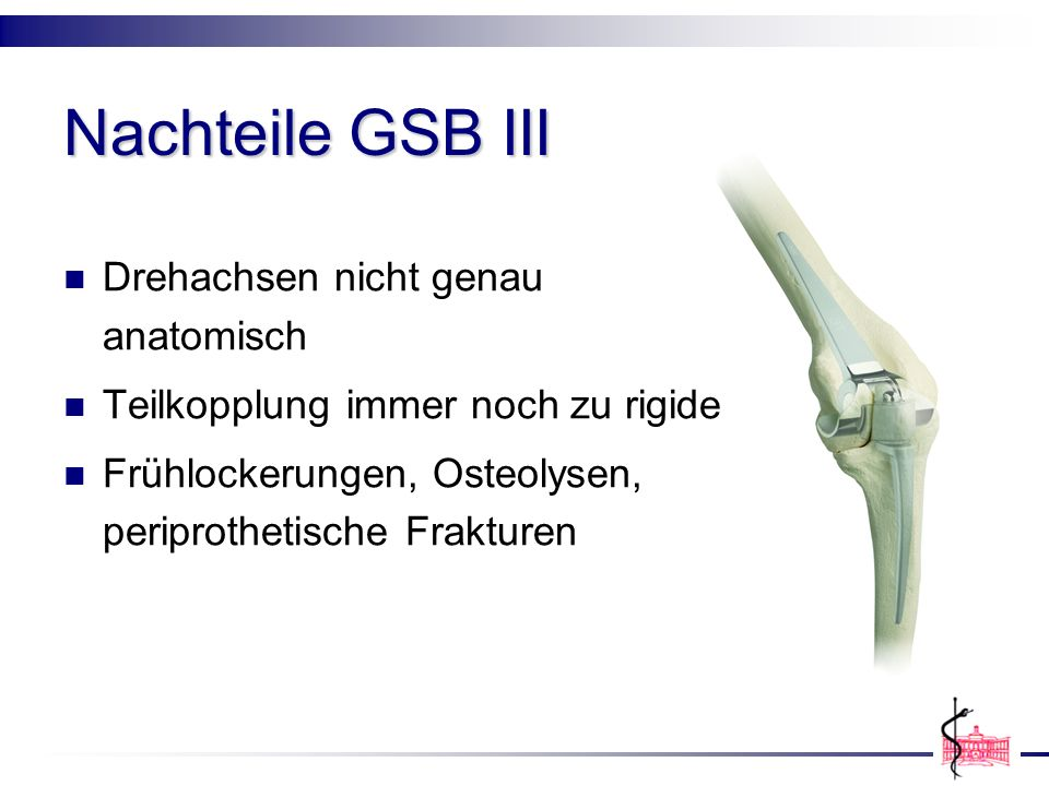 Nachteile GSB III Drehachsen nicht genau anatomisch