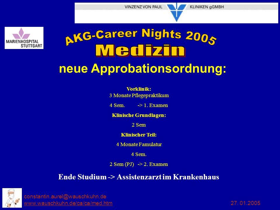 Klinische Grundlagen: Ende Studium -> Assistenzarzt im Krankenhaus
