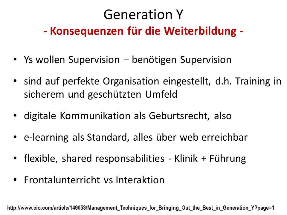 Generation Y - Konsequenzen für die Weiterbildung -