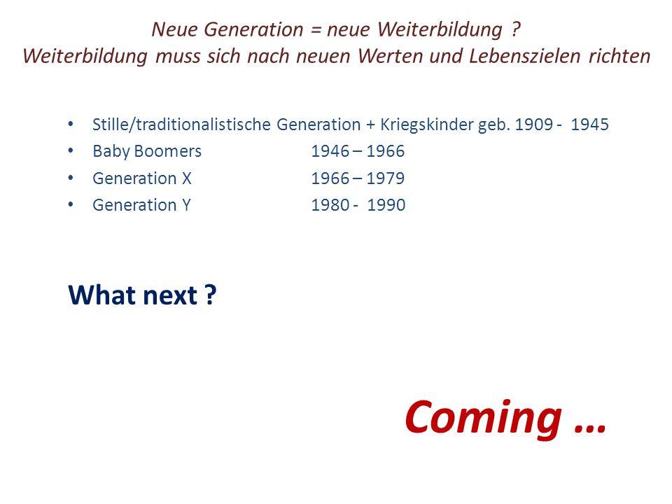 Neue Generation = neue Weiterbildung