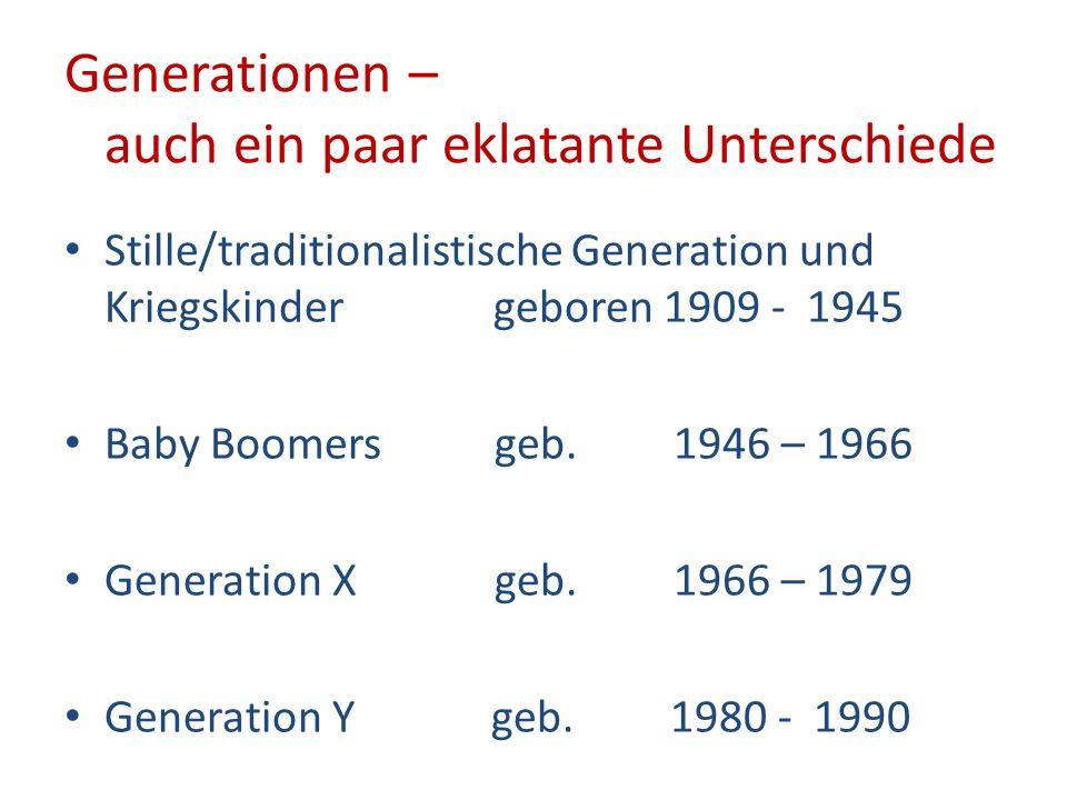 Generationen – auch ein paar eklatante Unterschiede