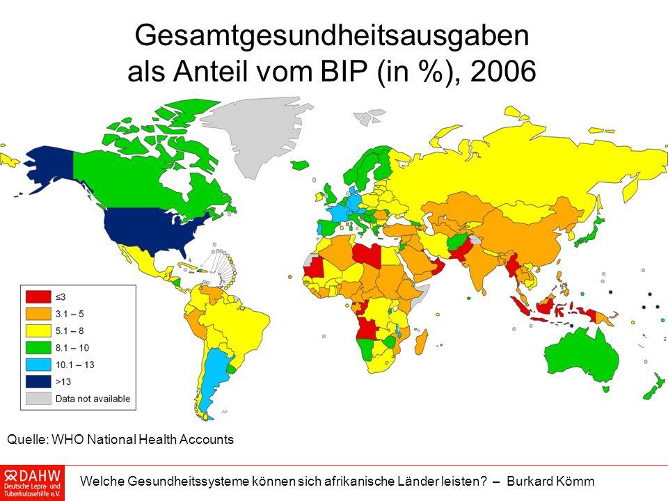 Gesamtgesundheitsausgaben als Anteil vom BIP (in %), 2006